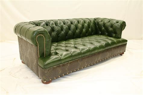 High End Furnishings Green Leather Tufted Sofa High End Sofa