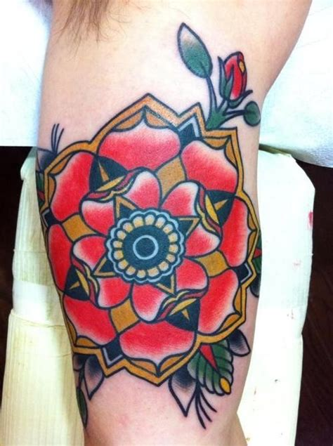 old school tattoo upper arm awesome traditional old school flower tattoo on upper arm