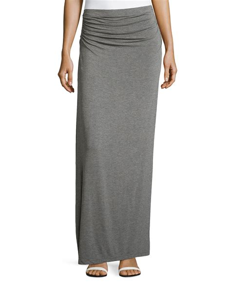 max studio ruched waist maxi skirt in gray lyst