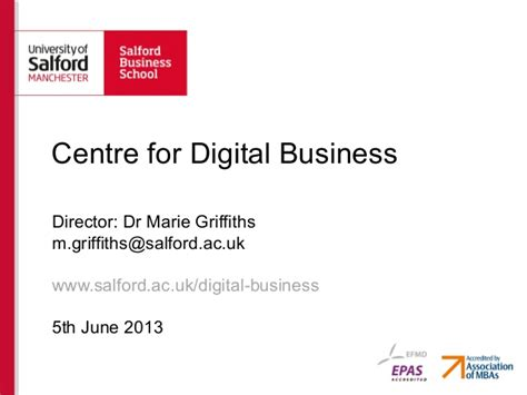 Salford Business School Mba by Centre For Digital Business Salford Business School