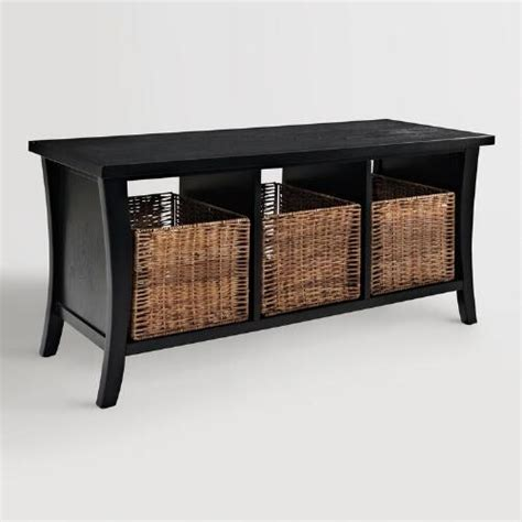 Entryway Table With Baskets Black Wood Cassia Entryway Storage Bench With Baskets World Market
