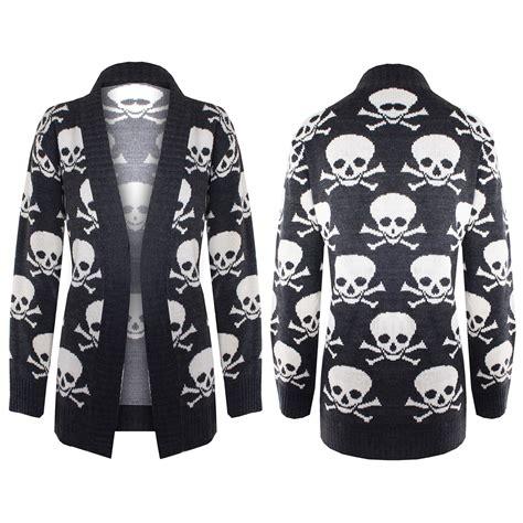 Sweater Dc Block Skull womens front open waterfall knitted skull bones sweater cardigan top ebay