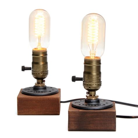 Edison Bulb Table L Vintage Desk Light Table L Edison Bulb E27 40w Industrial Retro Wooden Socket Lighting