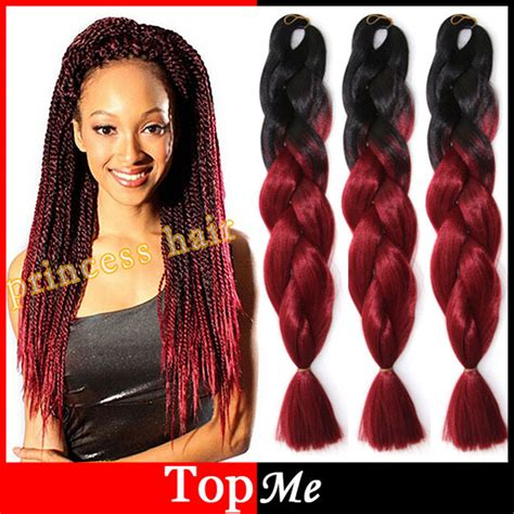 picture of red xpression braids ombre expression afro kanekalon cornrow women braiding