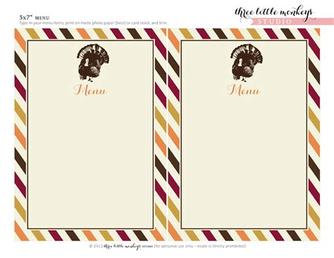 Happy Thanksgiving Card Printout Template by Printable Blank Menu Cards For Thanksgiving Happy Easter