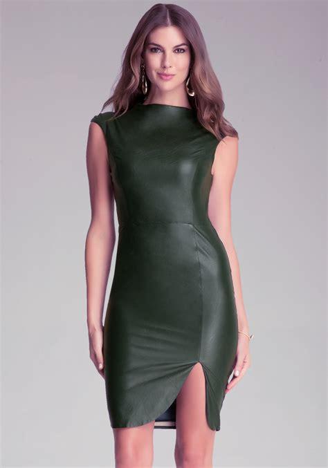 Dress Bebe Midi 1 bebe faux leather midi dress in green lyst