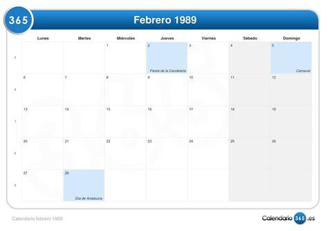 Calendario De 1989 Calendario Febrero 1989