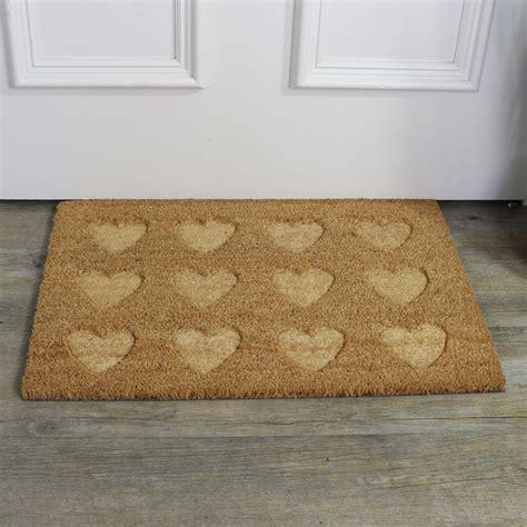 Heart Pattern Doormat | traditional coir heart pattern door mat melody maison 174