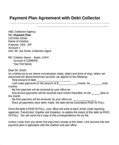payment plan agreement template 22 agreement templates free sle exle format