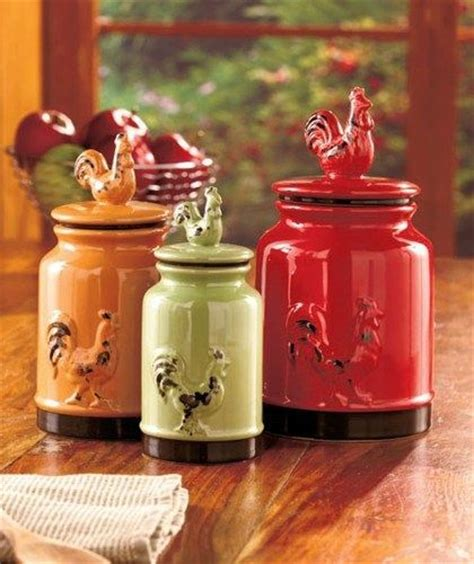 country kitchen canisters sets set of 3 rustic country rooster canisters green 17 oz