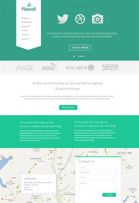 Pinwall Modern Website Template Psd Freebie No 103 Template Website