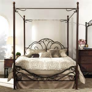 Black Canopy Bedroom Ideas Alluring Black And Brown Wrought Iron King Size Canopy Bed