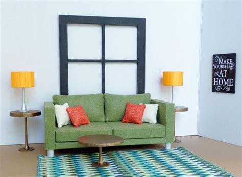 doll furniture 1 6 scale olive sofa ebay