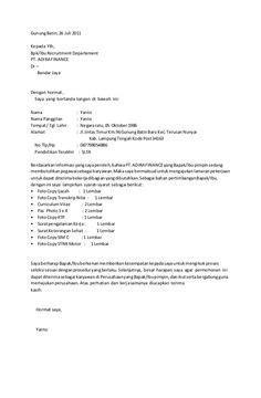 Contoh Application Letter Teknik Sipil surat lamaran kerja untuk fresh graduate ben