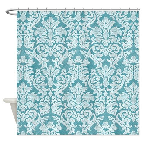 teal and white curtains lace pattern white teal shower curtain by marshenterprises