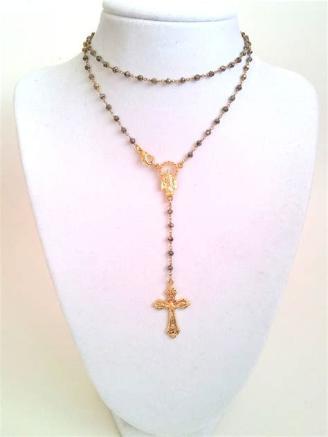 necklace yolanda foster wears on housewives 22 quot pyrite gold rosary necklace womens cross real