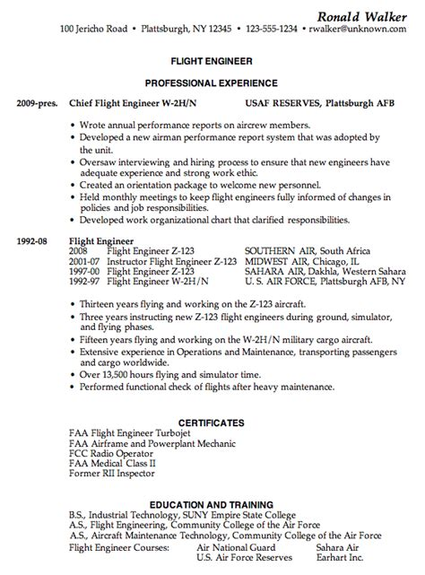 Us Airforce Mechanical Engineer Sle Resume by Resume Sle For A Flight Engineer Susan Ireland Resumes