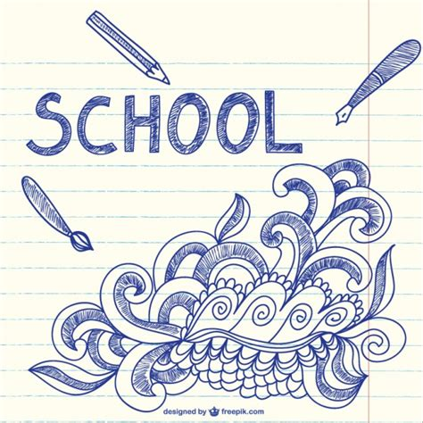 free editing doodle notebook with school sketchy doodles vector free