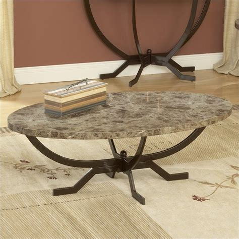Faux Marble Table Top by Hillsdale Monaco Oval Faux Marble Top Matte Espresso Finish Coffee Table