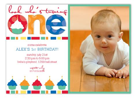 Turning One Primarylors Photo Card Polka Dot Invitations