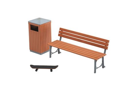 bench can park bench and trash can plastic model 1 12 hasegawa