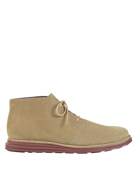 cole haan mens chukka boots cole haan lunargrand suede chukka boots in beige for
