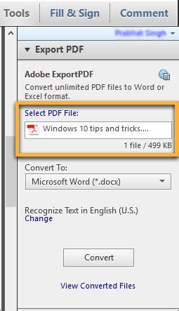 Convert Pdf File To Word Document Using Adobe