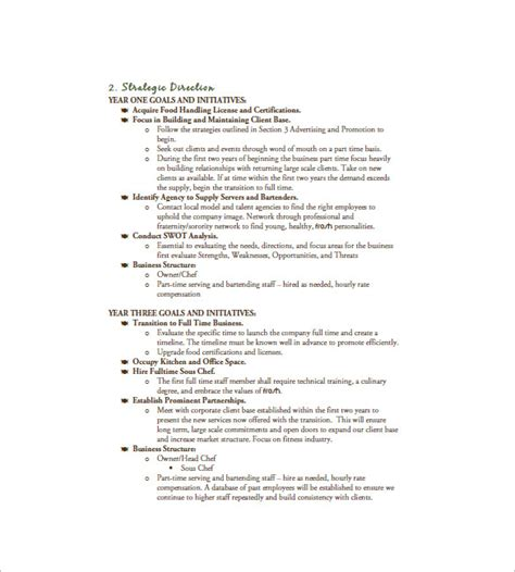 sle plan templates template for catering business plan 13 catering business