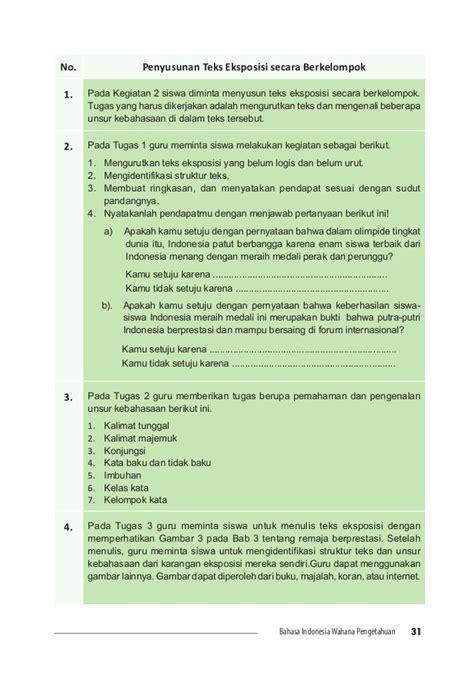 opini pendukung tesis adalah bahasa indonesia smp 7 guru