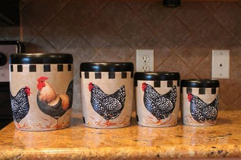 rooster canister set 4 vintage upcycled canister