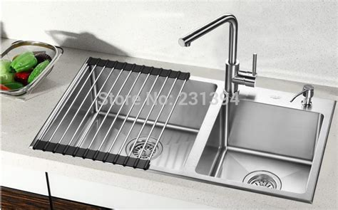 large sink set dish rack drainer aliexpress com buy 800 450 220mm stainless steel