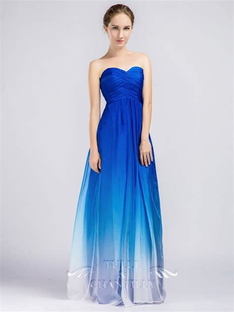 Blue Bridesmaid Dress by Blue Ombre Strapless Sweetheart Bridesmaid Dresses
