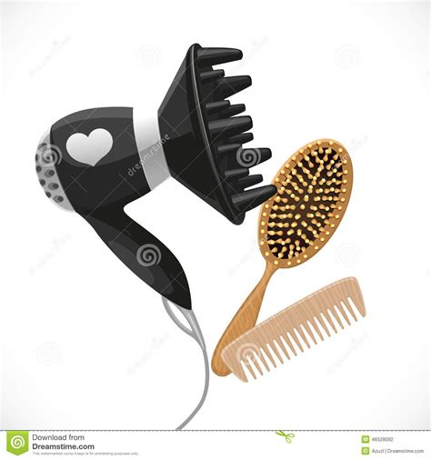 Hair Dryer Diffuser Comb hair dryer with diffuser and combs stock vector image