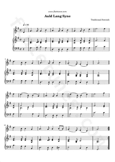 new year flute sheet auld lang syne trad scottish free flute sheet