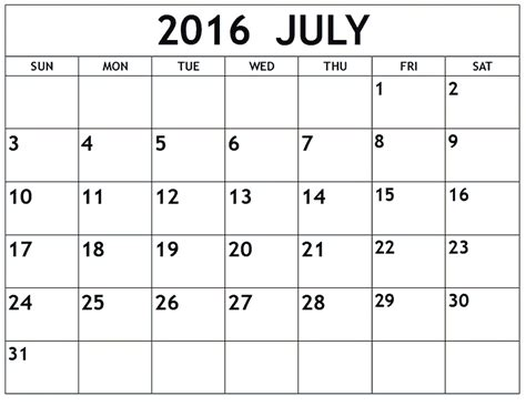 printable calendar 2016 with boxes july 2016 blank weekly templates printable calendar
