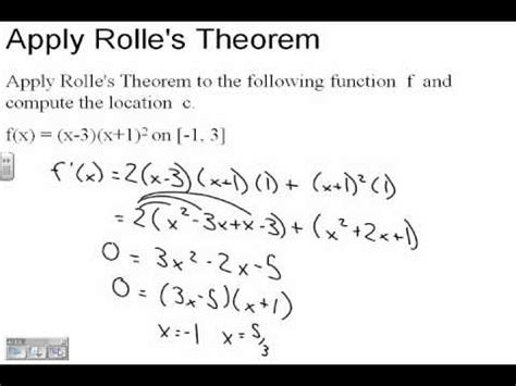 calculus 5 2 rolle s theorem and the mean value theorem