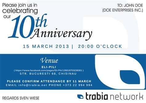 10 year business anniversary invitation wording 8 best images of business anniversary celebration