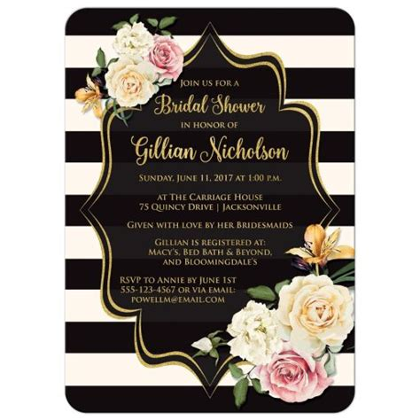 black and gold bridal shower invitations bridal shower invitation black ivory stripes vintage