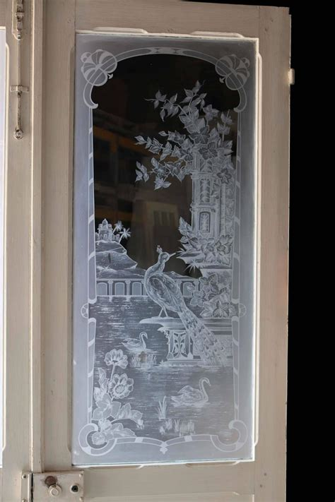Antique Etched Glass Doors Pair Of Antique Etched Glass Doors For Sale At 1stdibs