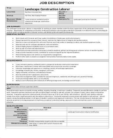 construction laborer job description sample  examples  word