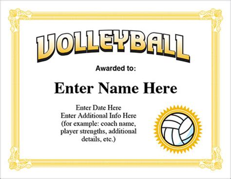 printable volleyball awards volleyball award certificate free award certificates
