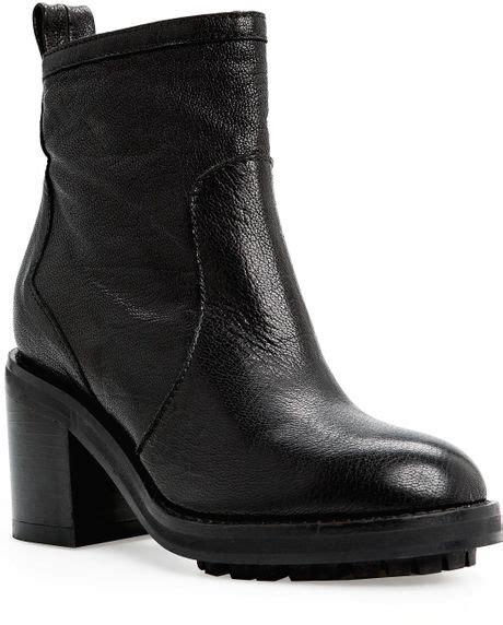 mango zipper leather ankle boots in black lyst
