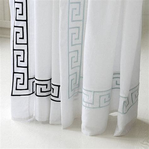 blue and black key white shower curtain