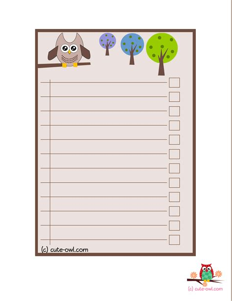 Owl To Do List Printable | 4 cute owl to do lists for the love of owls pinterest