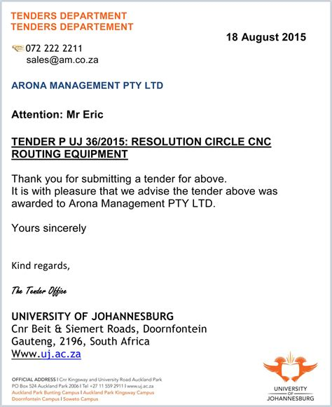 Acceptance Letter To Tender Advanced Machinery Applies For Tender At Uj