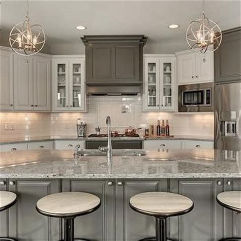Kendall Charcoal Kitchen Cabinets by Moon White Granite Countertops Transitional Kitchen