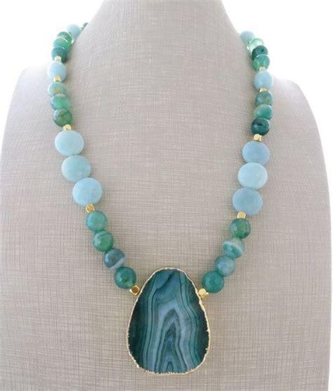 Green Agate Pendant Necklace agate pendant necklace green agate necklace chunky