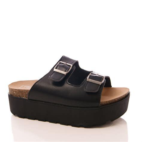 womens truffle mule sandals wedge slip on platform