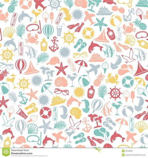 icon pattern background free seamless pattern summer travel icons stock vector