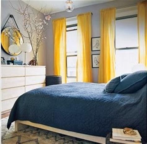 navy grey and yellow bedroom grey walls yellow curtains navy bedding homey ideas